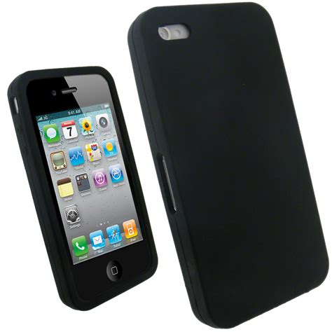 For Apple Iphone 4 igadgitz black silicone skin cover for apple iphone 4 hd 16gb 32gb screen protector