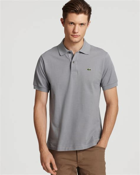 lacoste classic sleeve piqu 233 polo shirt in gray for lyst