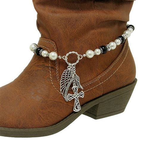 how to make boot jewelry pearl cross wing charm western cowboy boot jewelry