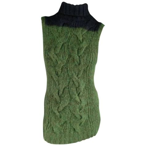 cable knit sleeveless sweater dries noten size s green and navy sleeveless cable
