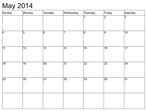Printable Calendar 2014 May | 8 best images of printable monthly calendar may 2014 may