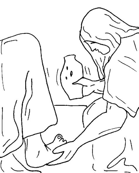 coloring page of mary anointing jesus feet mary anoints jesus feet coloring page az coloring pages