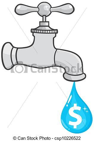 Water Faucet Drawing by Vector Illustration Of Water Faucet With Dollar