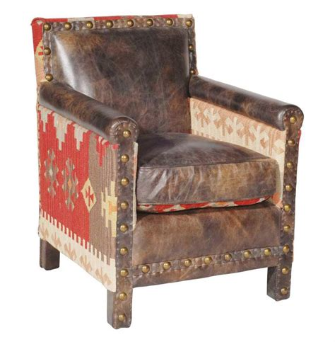 rustic leather armchair aram rustic lodge kilim brown distressed leather arm chair