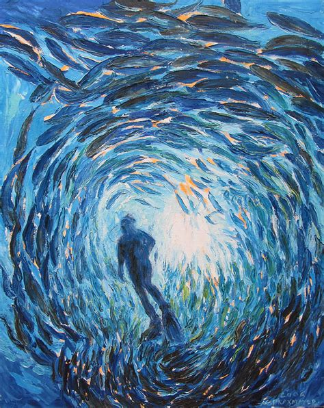 Duvet Sales Diver In A Of Fish Painting By Agnieszka Praxmayer