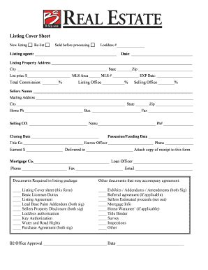 fillable online listing cover sheet b square real estate