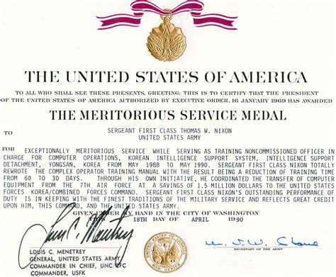 meritorious service medal citation template exle citation for retirement meritorious service medal