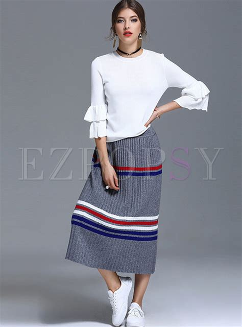 3 4 Sleeve Striped Knit Top brief 3 4 sleeve knit top hit color stripe knit skirt