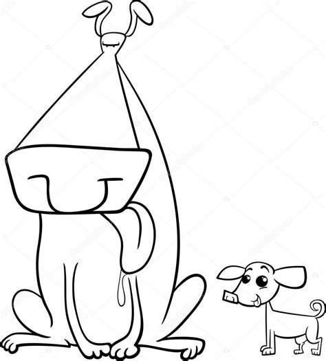 big and small dogs coloring page stock vector