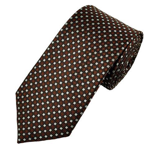 brown pattern tie brown orange silver patterned men s tie from ties planet uk