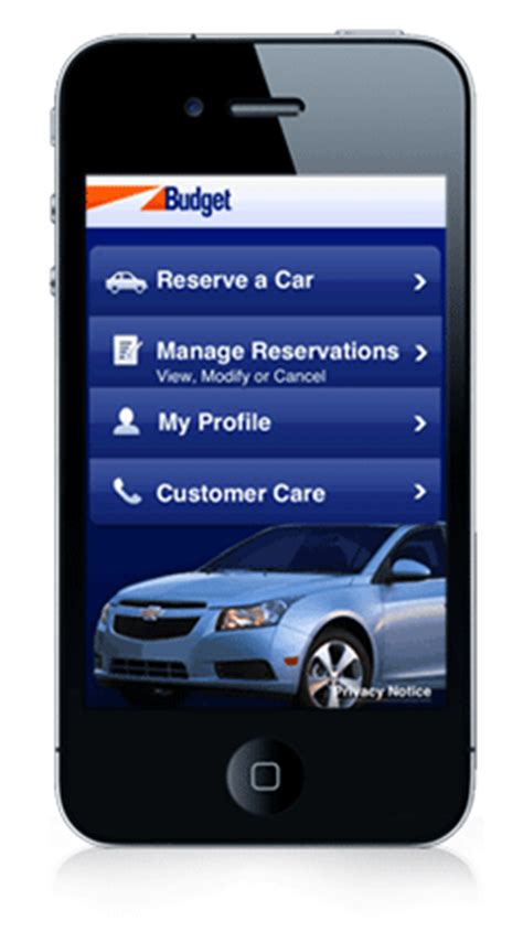 budget rent  car reservation iphone app