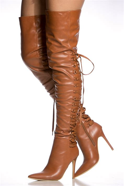 camel thigh high boots camel faux leather thigh high pointy boots cicihot heel