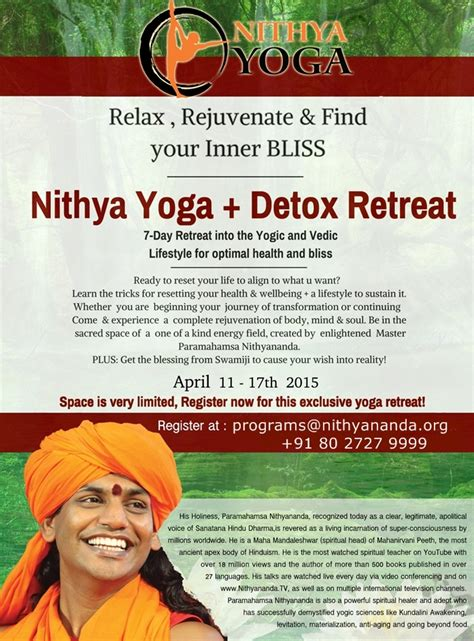 Detox Meditation Retreat by Nithya Detox Retreat Nithyananda Sangha S