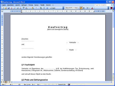 Kaufvertrag Motorrad Word Kostenlos by Word Vorlagen Vertr 228 Ge Chip
