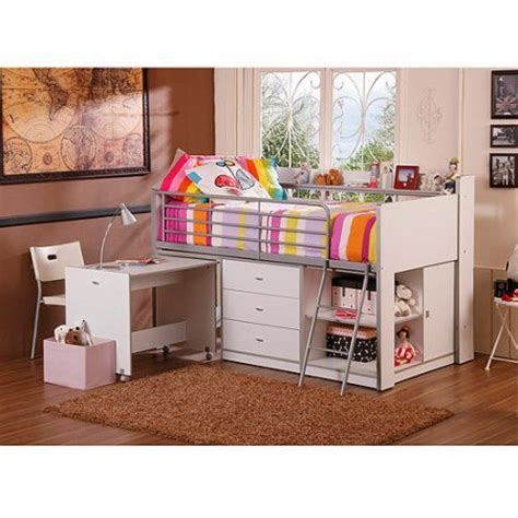 White Bunk Bed With Storage Storage Loft Bed With Desk White Walmart