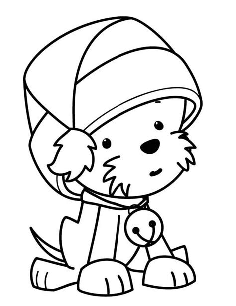 christmas coloring pages with puppies a cute little dog wearing santas hat on christmas coloring
