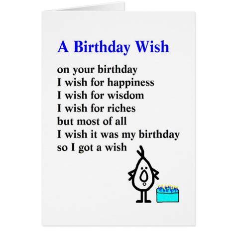 Birthday Card Poems For A Birthday Wish A Funny Birthday Poem Card Zazzle