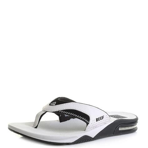 reef fanning mens black mens reef fanning white black toe post sandals flip flops
