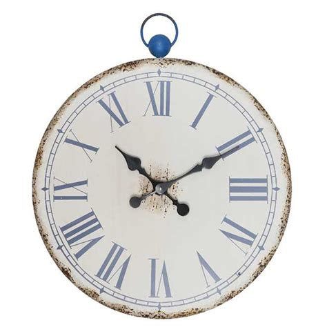 art wall clock creative co op ocean view metal wall clock da5128