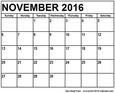 Kalender 2016 Nov November 2016 Printable Calendar
