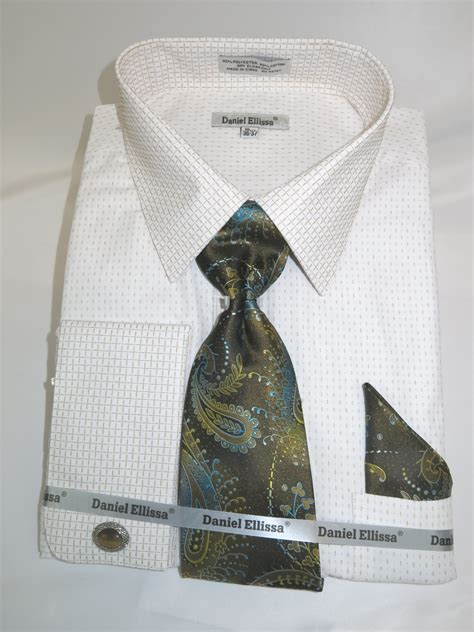 eye pattern clothes daniel ellissa ds3792p2 beige french cuff dress shirt