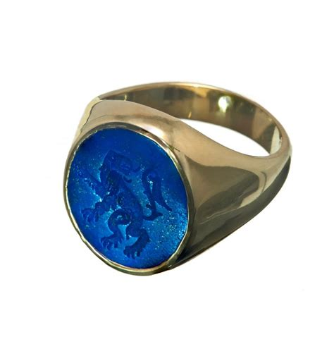 lapis heraldic gold plated silver signet ring