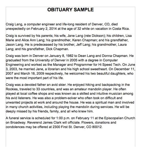 free obituary template 25 free obituary templates and sles free template