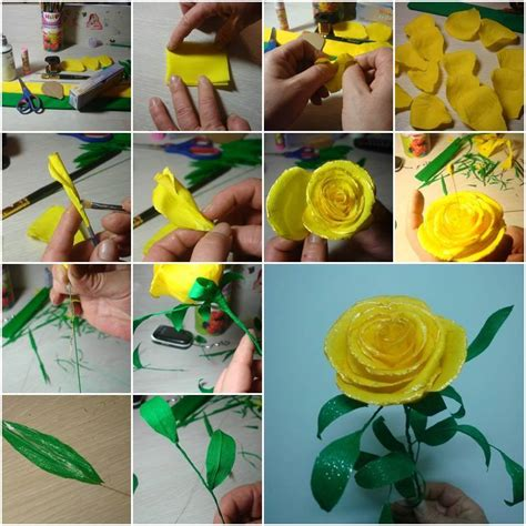 How To Make Handmade Paper Roses - diy beautiful yellow paper