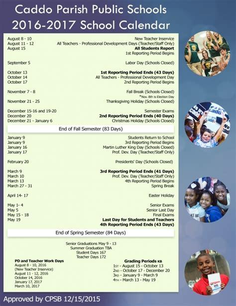 Caddo Parish School Calendar Caddo Parish School Board Calendar Printable Calendar 2017