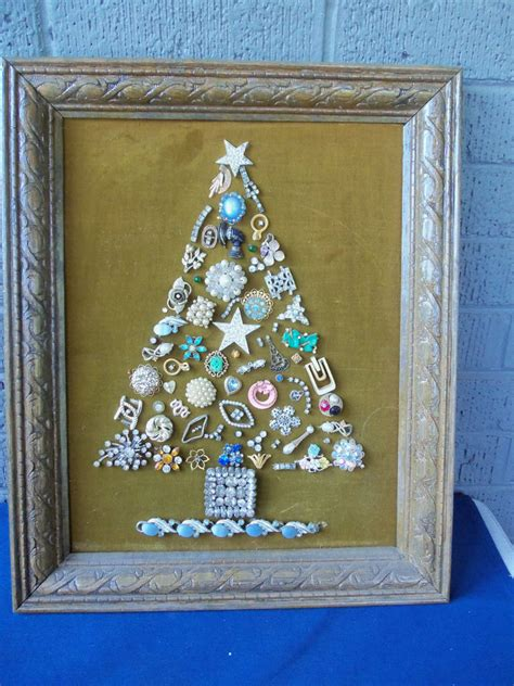 vintage costume jewelry christmas tree framed art