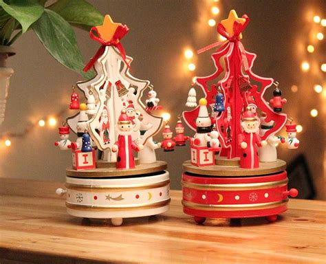 cute wooden christmas tree shaped music juke boxes holiday