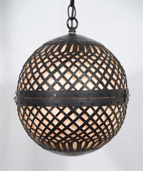 Rice Paper Pendant Light Pendants Of Cast Iron Balls Lined With Rice Paper At 1stdibs