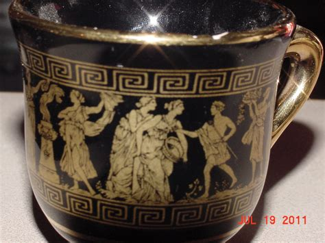 Handmade In Greece - i 2 black teacups that are made in greece in 24k
