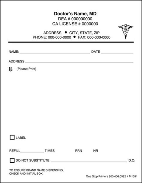 doctor prescription template doctor s rx pads slips with docugard m1091 one stop