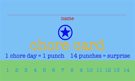 picture chore card template free printable chore punch cards