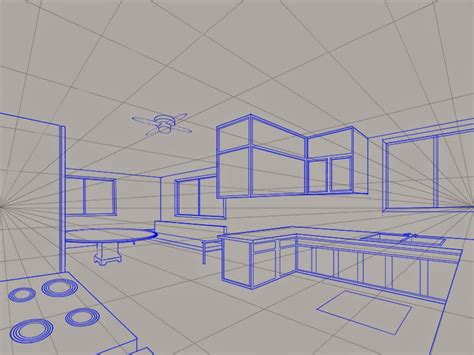 Kitchen 2 Point Perspective by Kight Neale A Two Point Perspective View Of The Kitchen