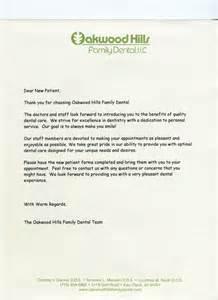 new patient welcome letter template new patients eau wi dentist oakwood