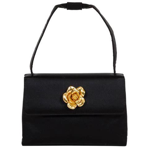 chanel black silk camellia evening bag for sale at 1stdibs