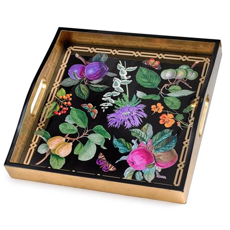 home decor tray decoupage square garden tray black painted wooden