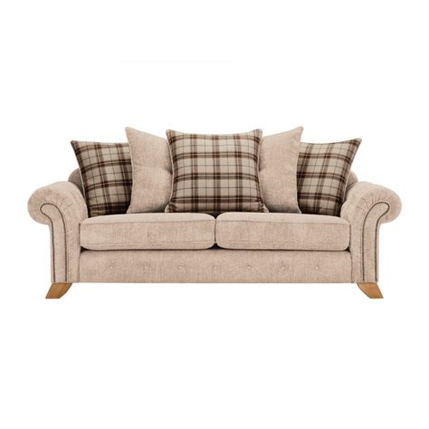 beige sofa with pillows montana 3 seater pillow back sofa in beige tartan cushions