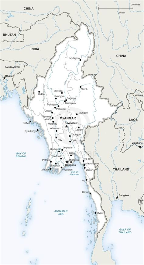 political map of myanmar vector map of myanmar political one stop map