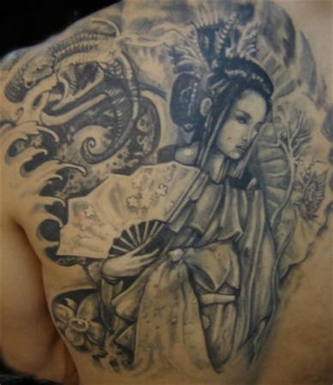 geisha china tattoo geisha girl tattoo on back