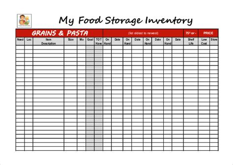 food inventory template 12 food inventory templates free sle exle