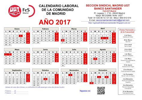 Calendario Laboral Barcelona 2017 Pdf Calendario Laboral Madrid 2017 4 Free