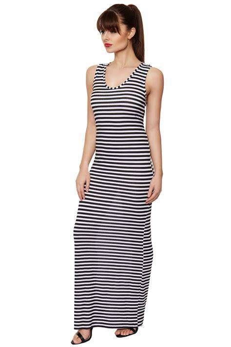 Bodycon Dress Import 26410 Striped Dress womens black white striped racer back bodycon sleeveless maxi dress