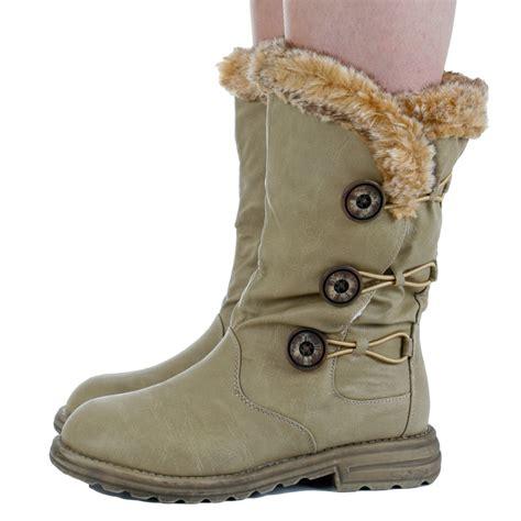warmest womens winter boots womens beige fur trim flat buttoned calf winter snow warm