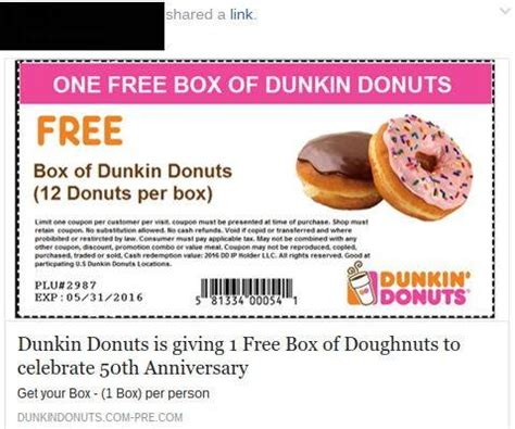 FACT CHECK: Dunkin' Donuts Facebook Coupon