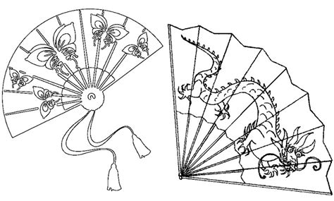 free coloring pages of chinese fan template