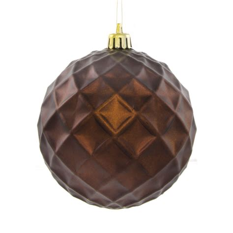100mm round indented diamond metallic ball ornament matte