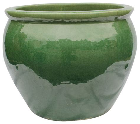 20 quot ceramic oriental fishbowl planter in jade green